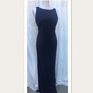 Vintage Backless Navy Blue Maxi Dress